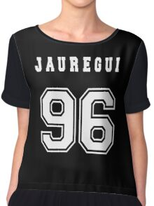 JAUREGUI - 96 // White Text Chiffon Top