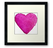 Watercolor Pink Heart Framed Print