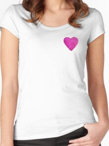 Watercolor Pink Heart Women's Fitted Scoop T-Shirt