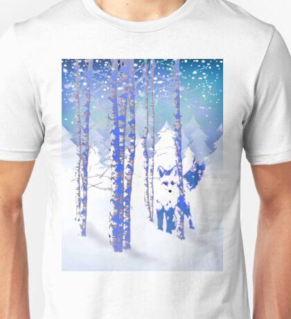 Blue Winter Snow Forest Fox Animal Foxes Unisex T-Shirt