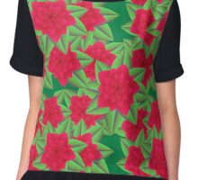 Dark Red Camellias and Green Leaves Chiffon Top