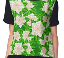 White Camellias and Green Leaves Chiffon Top