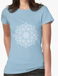 White Ornate Floral Mandala Womens Fitted T-Shirt
