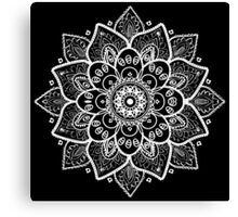 White Ornate Floral Mandala Canvas Print