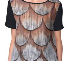 Wooden Lapped Shingles (Rounded) Texture Chiffon Top