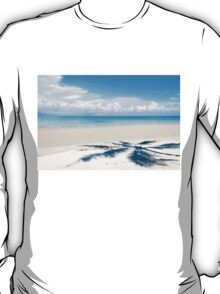 Shadow of palm tree over tropical white sand beach T-Shirt