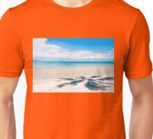 Shadow of palm tree over tropical white sand beach Unisex T-Shirt