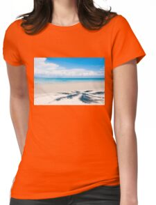 Shadow of palm tree over tropical white sand beach Womens Fitted T-Shirt
