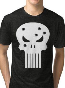 COMIC BOOK PUNISHER STYLE SKULL MILITARY Tri-blend T-Shirt