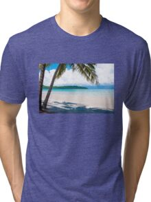 Exotic tropical beach with white sand and blue waters Tri-blend T-Shirt