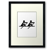 Rowing paddle team Framed Print