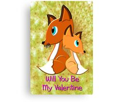 A Foxy Be My Valentine Card Canvas Print