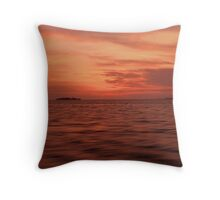 Land on Sea when sunset Throw Pillow