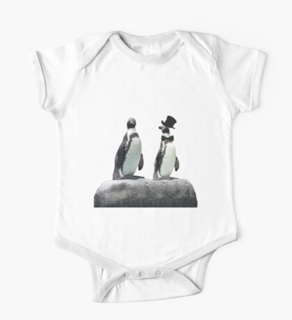 Penguin with a Top Hat with Bow Tie One Piece - Short Sleeve