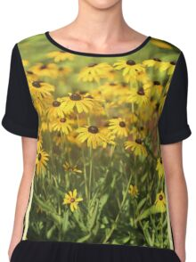 When Susans Smile - Black Eyed Susan Triptych Chiffon Top