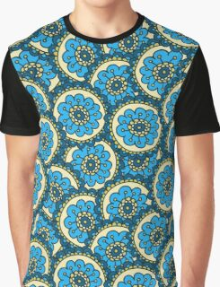 Blue doodle flower pattern.Hand drawn cute seamless background. Graphic T-Shirt