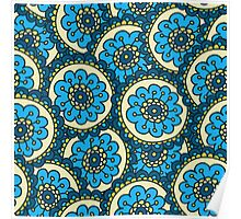 Blue doodle flower pattern.Hand drawn cute seamless background. Poster