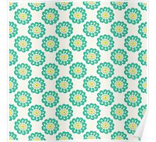 Blue doodle flower simple pattern.Hand drawn cute seamless background. Poster