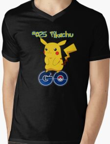 025 Pikachu GO! Mens V-Neck T-Shirt