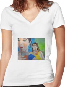 """""""Double Trouble"""" Women's Fitted V-Neck T-Shirt"""