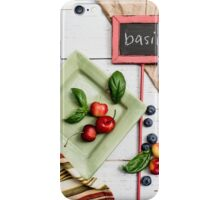 Basil Still Life With Cherries iPhone Case/Skin