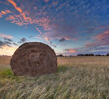 Hay Bales and a Texas Sunset 3 by RobGreebonPhoto
