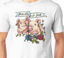 'Friends, not Food' Pig Veggie Vegan Illustration Unisex T-Shirt