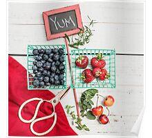 Blueberries, Cherries, Basil Still Life Poster