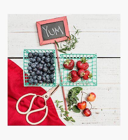 Blueberries, Cherries, Basil Still Life Photographic Print