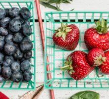 Blueberries, Cherries, Basil Still Life Sticker