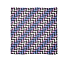 Blue, Pink, and White Houndstooth Scarf