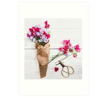 Still Life Sweet Peas with Scissors Art Print
