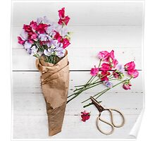 Still Life Sweet Peas with Scissors Poster