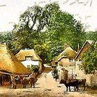 A digital painting of Cockington Forge, Torquay, England 19th century by Dennis Melling