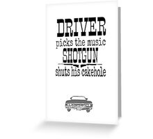 Driver Picks Music Quote Spn Greeting Card