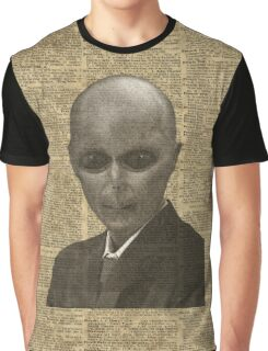 Elegant Alien,UFO in Suit,Vintage Illustration,Dictionary Art Graphic T-Shirt