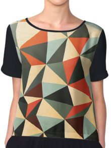 Abstract Diamond Pattern Chiffon Top