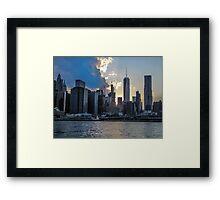 Manhatten Skyline at Sunset Framed Print