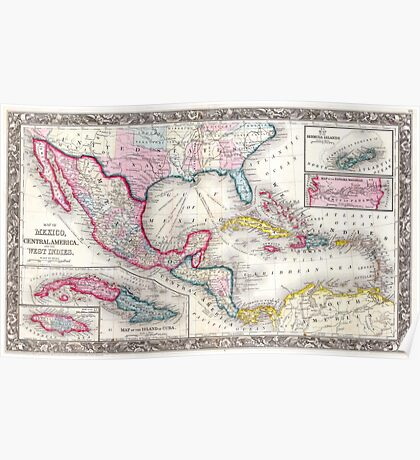 Mexico, Central America and Caribbean Map (1860) Poster