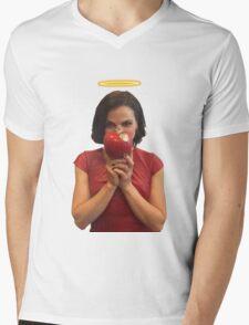 Lana Parrilla with a halo Mens V-Neck T-Shirt