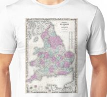 Vintage Map of England (1862) Unisex T-Shirt