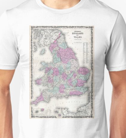 Vintage Map of England (1862) Unisex T-Shirt