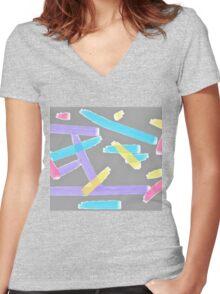 Pastel Brush Strokes Women's Fitted V-Neck T-Shirt