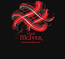Clan McIver - Prefer your gift on Black/White, let us know at info@tangledtartan.com Unisex T-Shirt