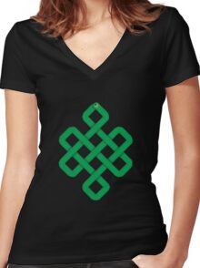 Green Slither Snake Knot Women's Fitted V-Neck T-Shirt