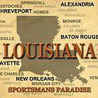 Louisiana State Pride Map Silhouette  by KWJphotoart