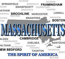 Massachusetts State Pride Map Silhouette  by KWJphotoart