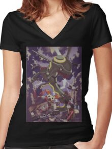 pokemon rayquaza Women's Fitted V-Neck T-Shirt