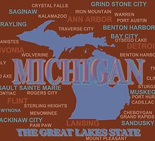 Michigan State Pride Map Silhouette  by KWJphotoart