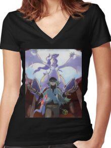pokemon reshiram and n Women's Fitted V-Neck T-Shirt
